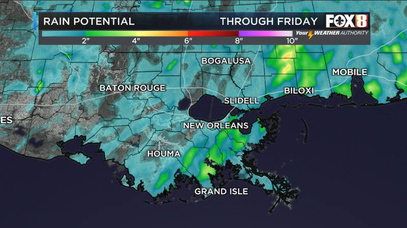 Spotty showers and storms through the weekend