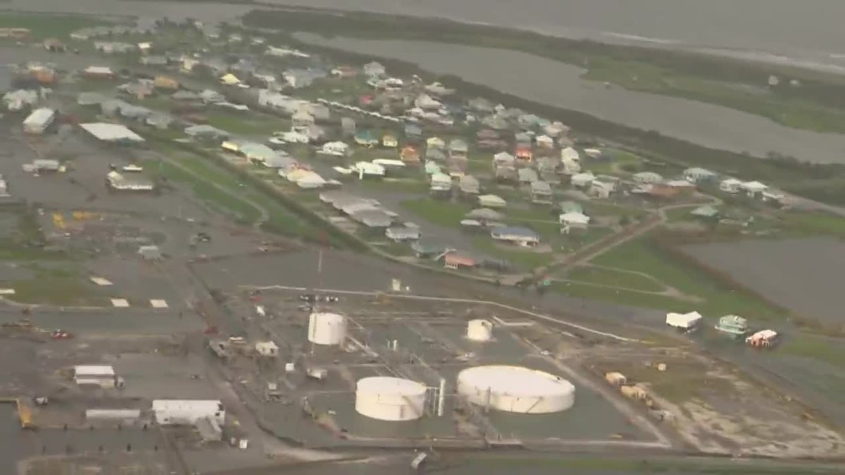 Grand Isle flyover one day after Hurricane Ida impacts
