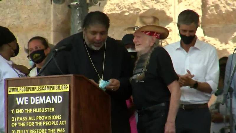 Beto O'Rourke joined Willie Nelson in a voting rights rally at the Texas state capitol in Austin.