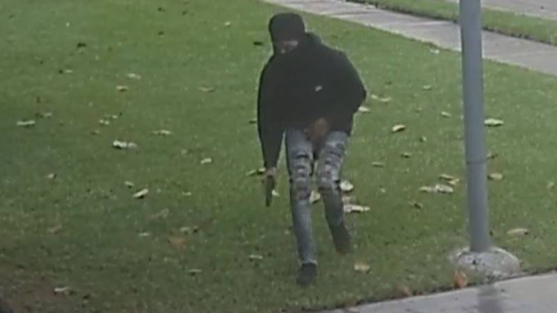 Home surveillance footage captures an armed carjacker creeping up a driveway before the victim...