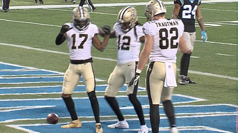 Emmanuel Sanders celebrates a touchdown in Carolina.