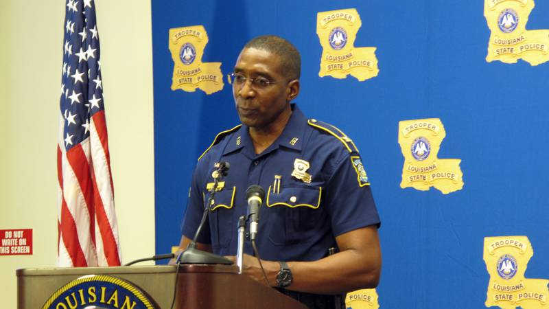 Louisiana State Police leader Col. Lamar Davis speaks to reporters amid a widening federal...