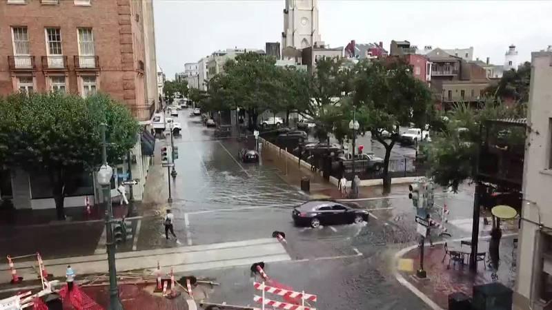 Drone footage of flooding in the CBD Monday, Aug. 26. (Photo courtesy of Sebastien Bonnot)