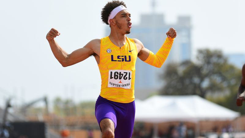 Terrance Laird runs second fastest time in school history in the 200 meters at the Texas Relays.