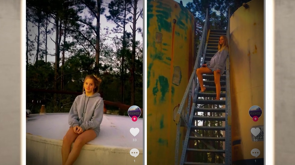 Zalee Day, seen posing for photos on the oil well near her home in Beauregard Parish, La.