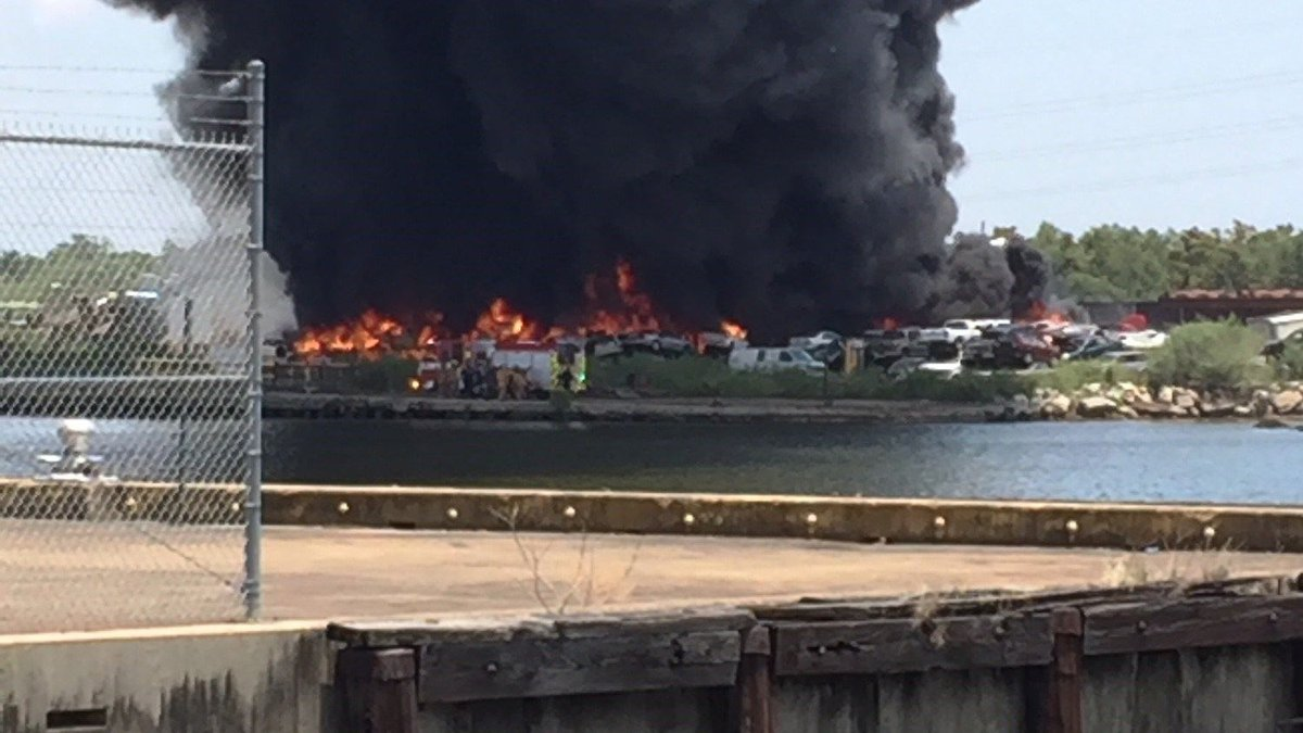 Southern Recycling started to burn after a fire early Friday afternoon. (FOX 8)