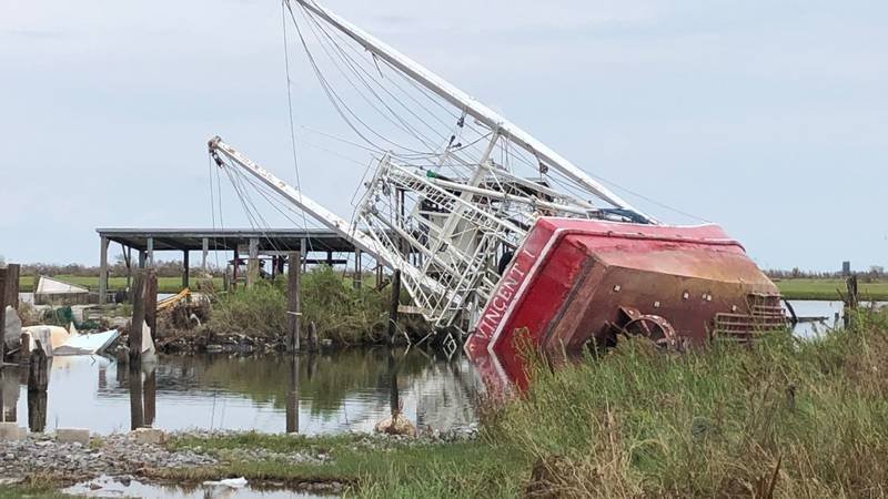 Shrimp boats sit on dry land in Lafourche Parish.