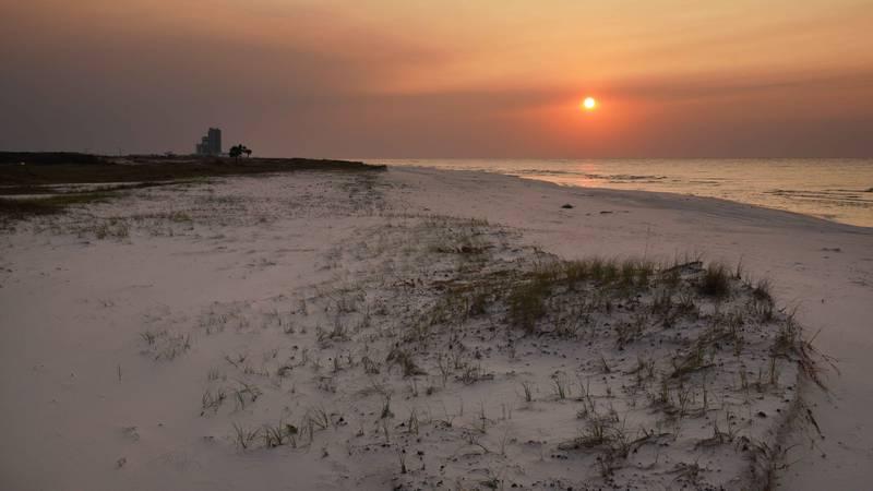 The sunrise over Gulf Shores, Alabama