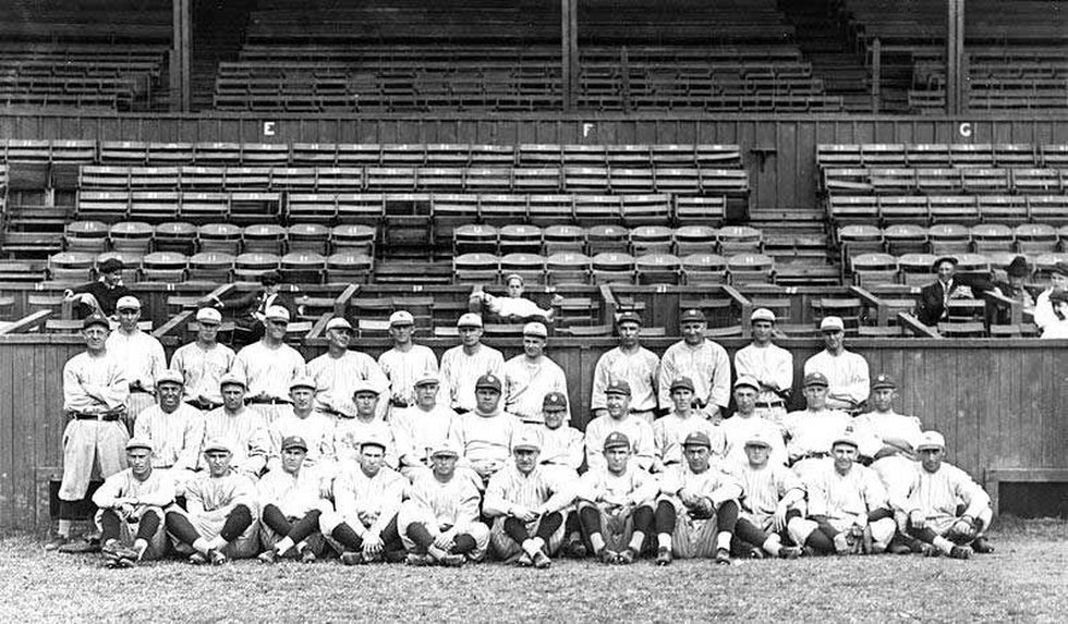 New York Yankees baseball team at New Orleans, posed in front of bleachers, during spring...