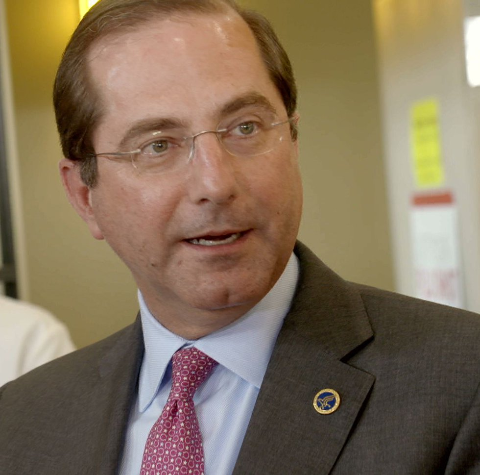 HHS Secretary Alex Azar speaks to Louisiana pharmacists during a visit to a Metairie pharmacy...