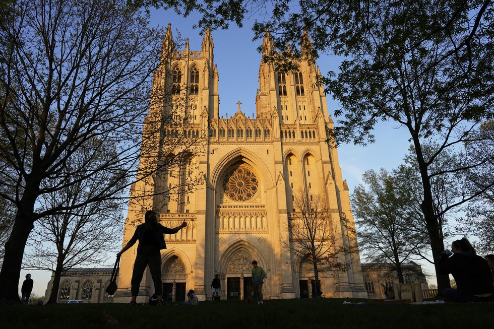 FILE - This Tuesday, April 13, 2021 file photo shows the Washington National Cathedral is seen...