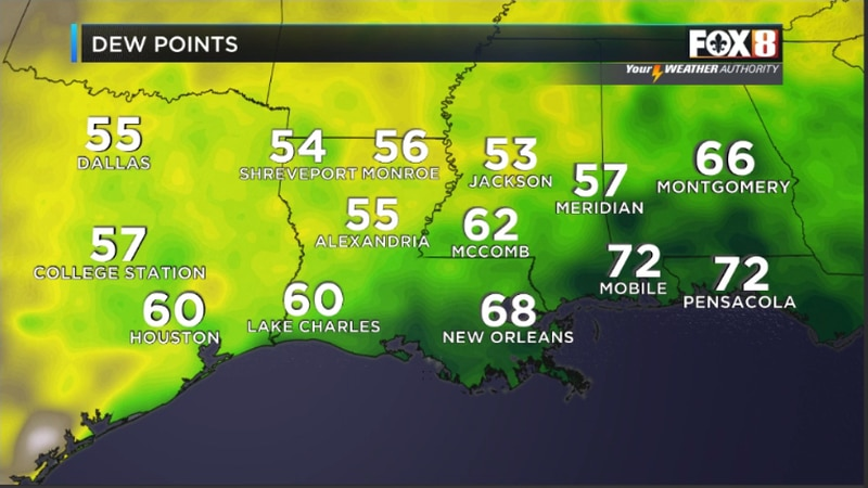 A cold front moving across the area tonight will lead to lower dew points and a less humid...