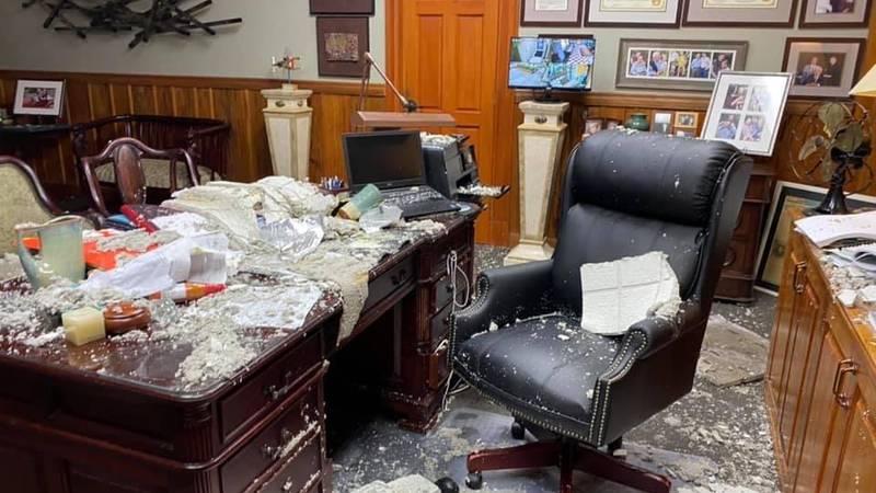 Ponchatoula Mayor Bob Zabbia's office after Hurricane Ida