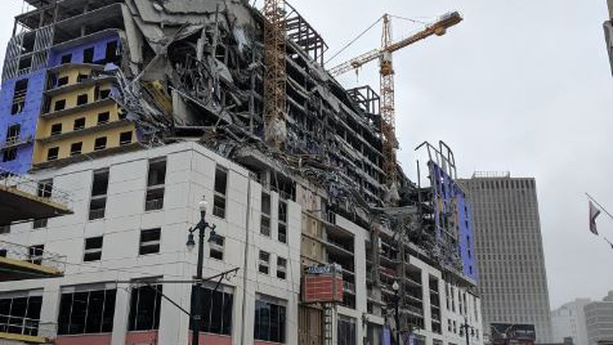 The Hard Rock Hotel on Canal Street, which was still under construction, partially collapsed...