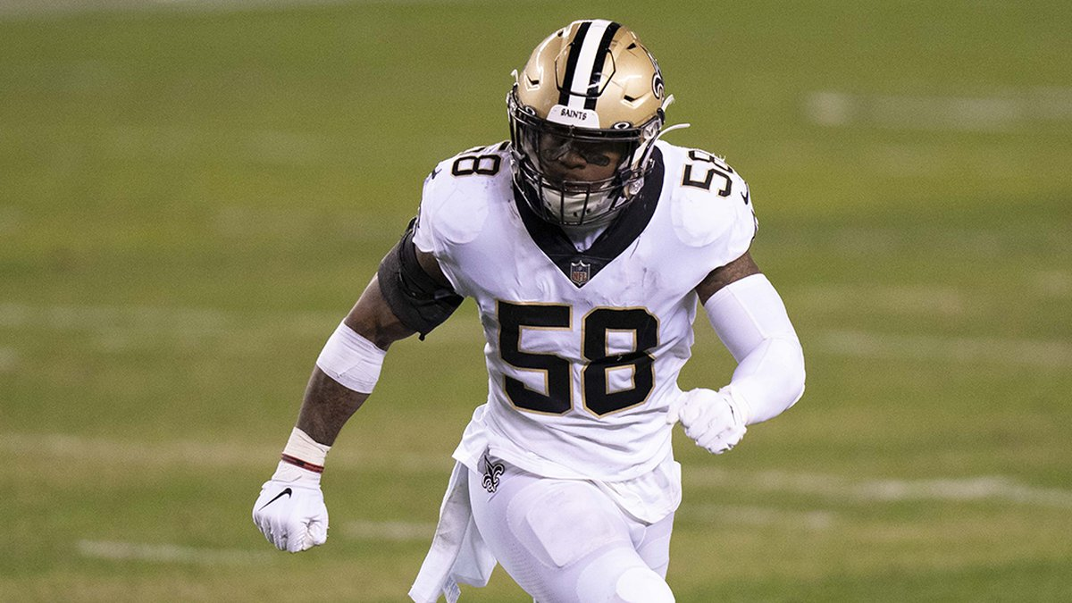 New Orleans Saints linebacker Kwon Alexander (58) in action during the NFL football game...