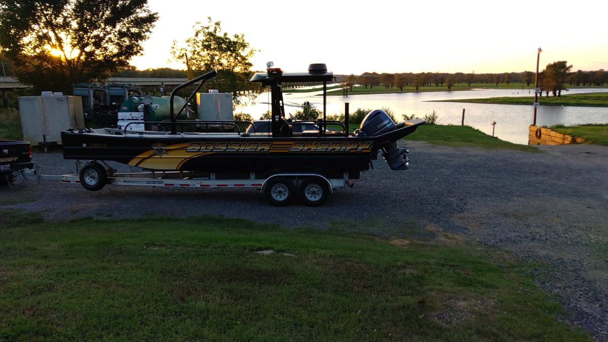 A Bossier Sheriff's Office boat sits at Grice Landing on the east side of the spillway at Lake...