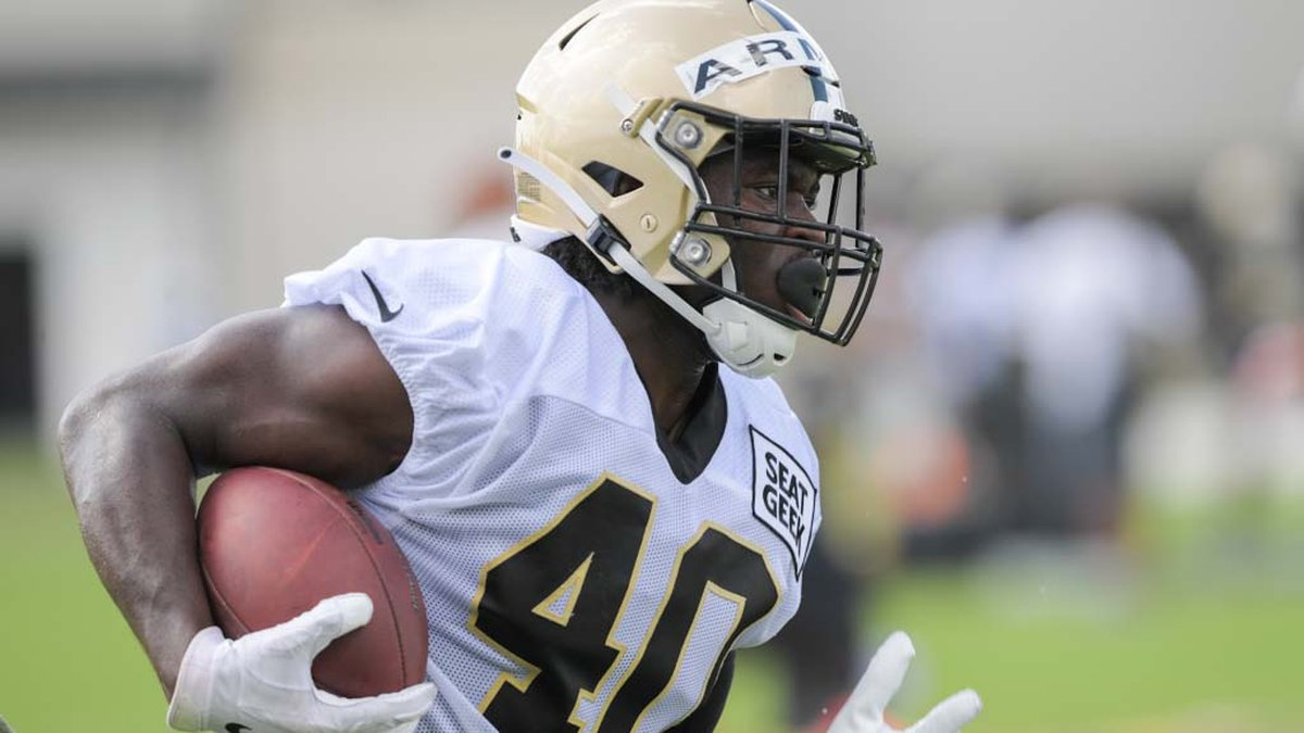 New Orleans Saints running back Alex Armah (40) is one of 11 players the Saints added to their...