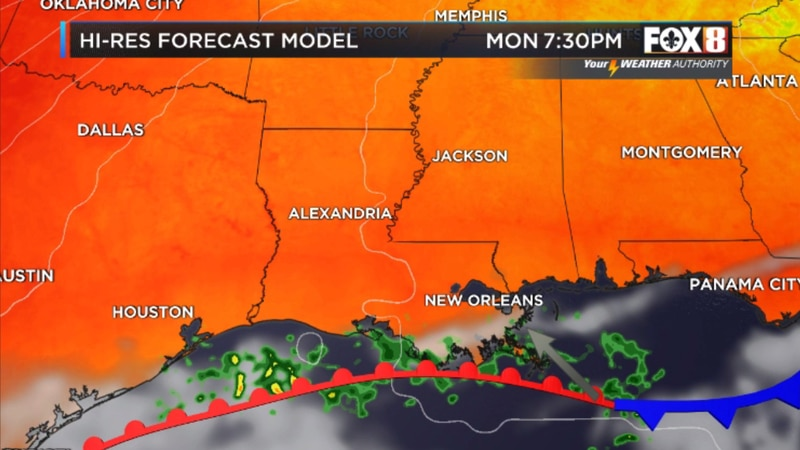 The cold front that pushed into the Gulf on Sunday March 28, 2021 will rebound as a warm front...