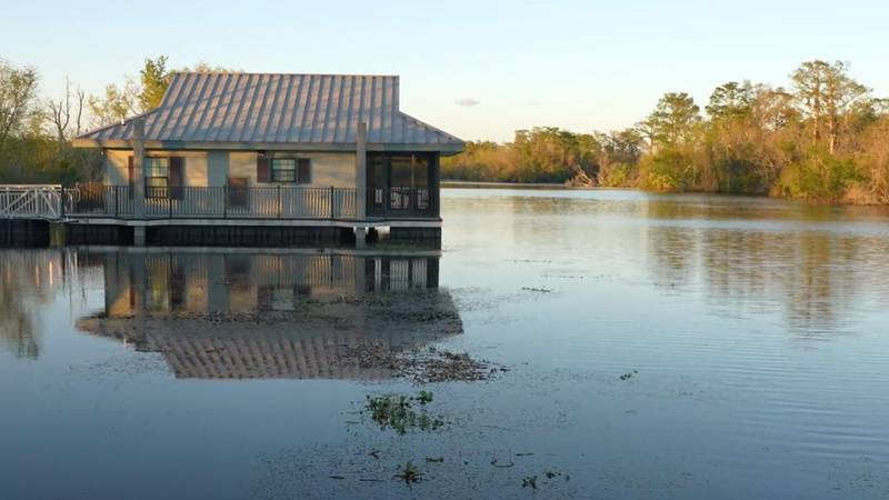 At Bayou Segnette State Park, you can spend the night in a cabin that floats on water.