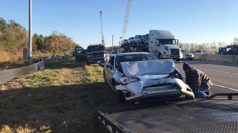 At least four vehicles were damaged during a crash on I-10 West near Michoud Tuesday morning.