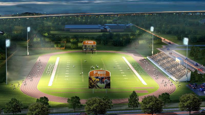 A rendering of the newly-planned 9th Ward Stadium located next to the Carver High School campus.