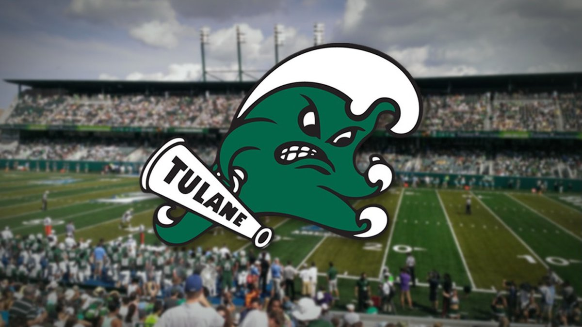 Tulane's Angry Wave logo with Yulman Stadium in the background