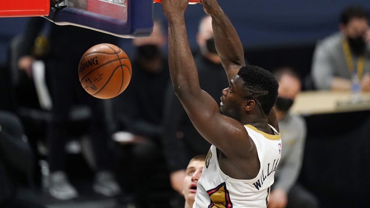 New Orleans Pelicans forward Zion Williamson dunks the ball for a basket in the second half of...