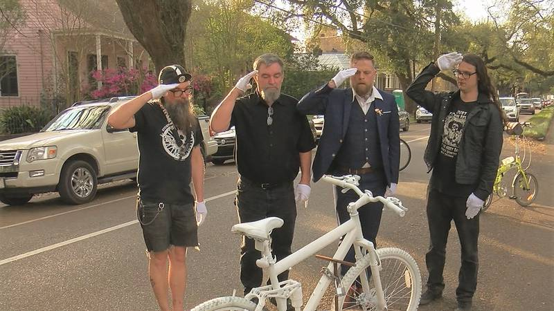 Two ghost bikes were installed in honor of Sharree Walls and David Hynes on Esplanade Avenue,...
