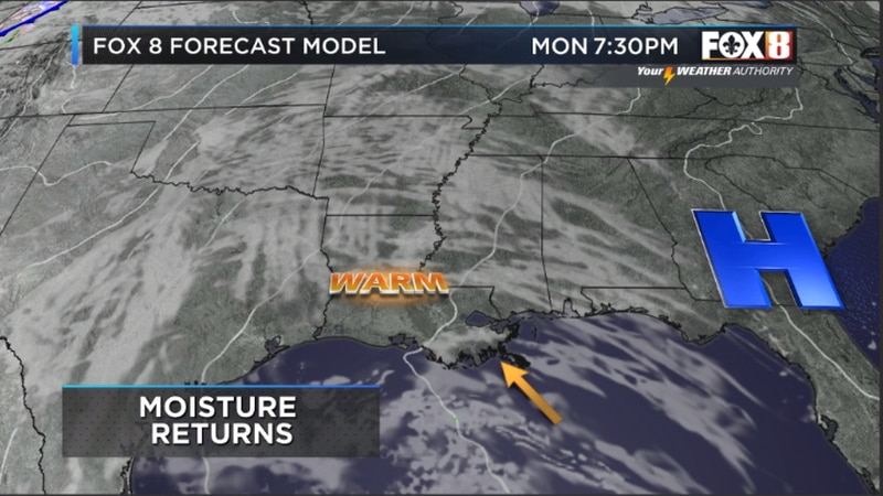 High pressure slides east allowing for dew points to rebound, but rain should stay away for the...