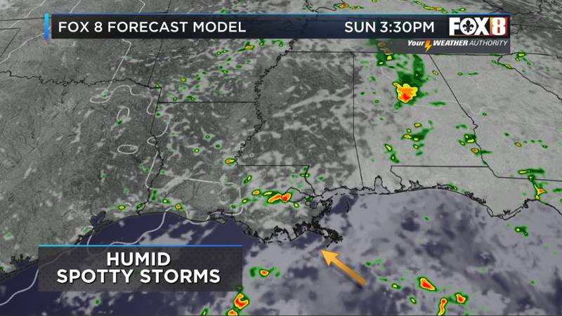 Isolated heavy down pours continue into Sunday.