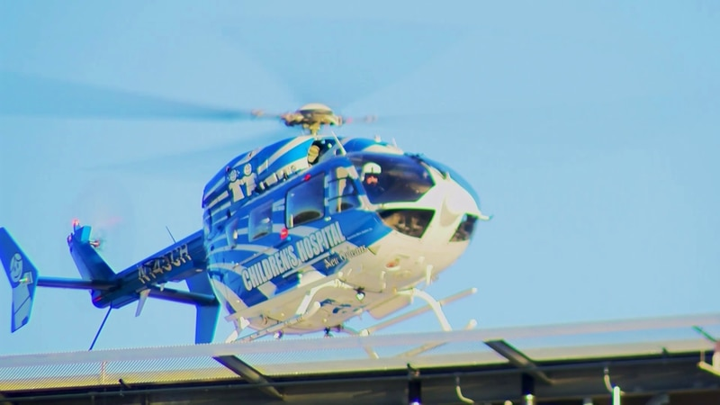 The helicopter from Children's Hospital in New Orleans seen hovering over its newly-completed...