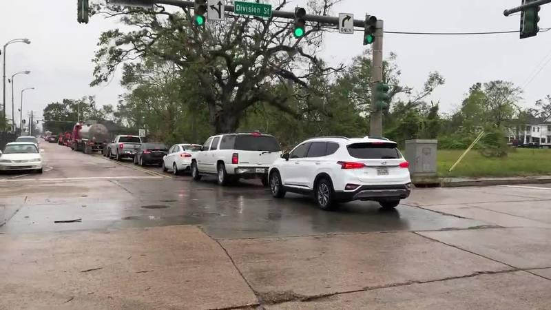 Traffic backup on Bilbo Street as residents evacuate for Hurricane Delta.