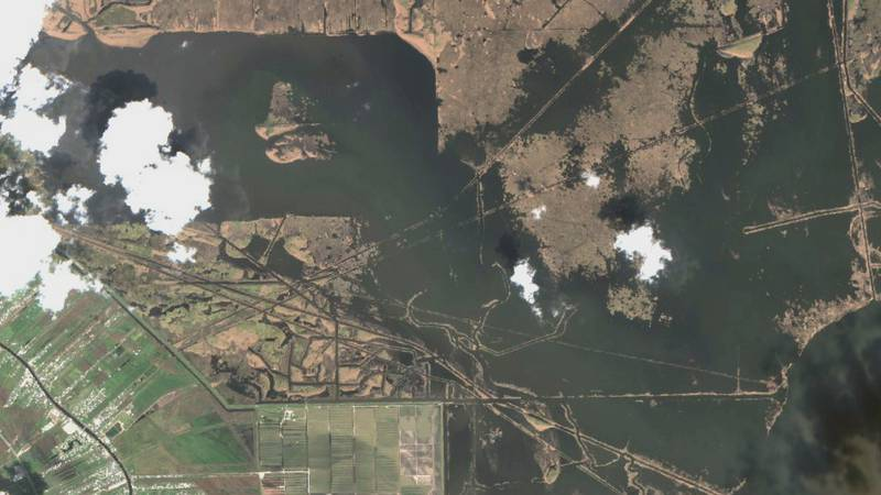Satellite imagery from the European Space Agency shows damage to the Delta Farms area near...
