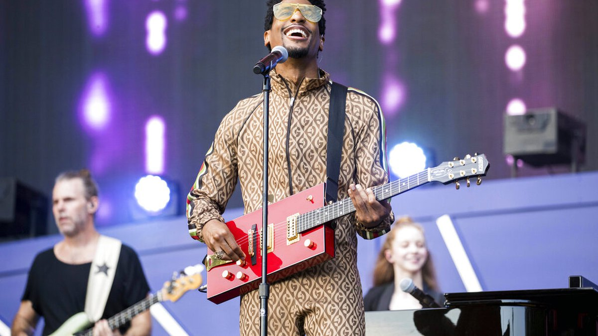 Jon Batiste performs with his band Jon Batiste & Stay Human during the 2019 Global Citizen...