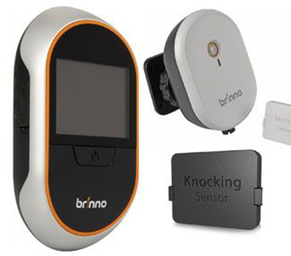 Brinno Digital PeepHole Viewer system includes optional wireless motion sensor (top right) and...