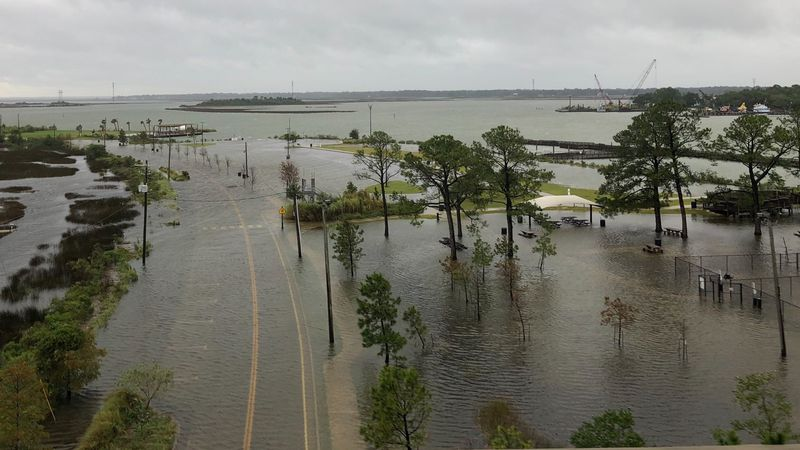 A drone shot of Pascagoula's River Park shows the rising water as Hurricane Sally's storm surge...