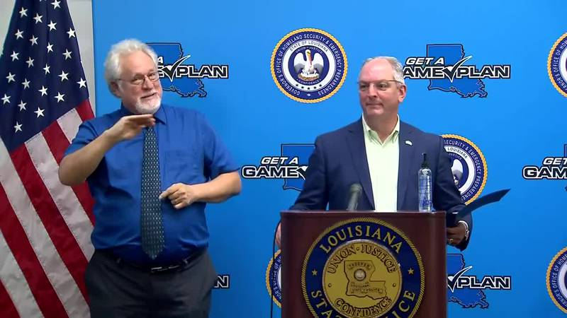 Gov. John Bel Edwards gives an update on state preps for storms Marco and Laura.