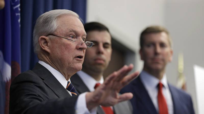 U.S. Attorney General Jeff Sessions speaks during a news conference regarding the country's...