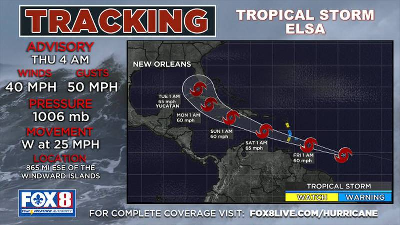Tropical Storm Elsa has formed over the tropical Atlantic on Thursday morning.