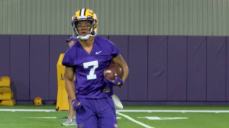 Grant Delpit sporting his new jersey number at 2019 LSU Football Spring Practice (Source:...