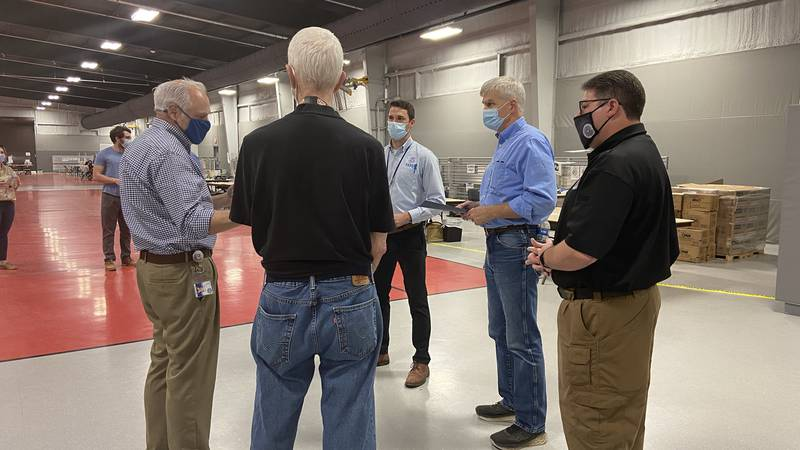 U.S. Sen. Bill Cassidy tours a FEMA Disaster Recovery Center in Plaquemines Parish and hears...
