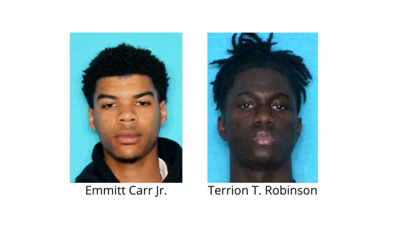 Terrion T. Robinson (pictured right) is wanted for the murder of Emmitt Carr Jr. (pictured left).