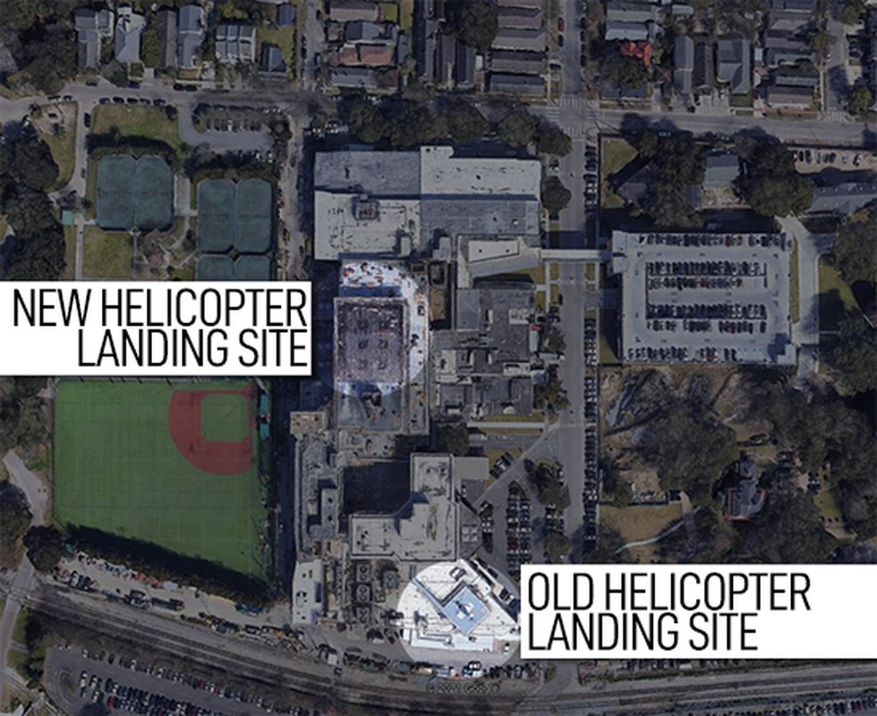 Children's Hospital in New Orleans moved their helicopter landing zone from an area near the...