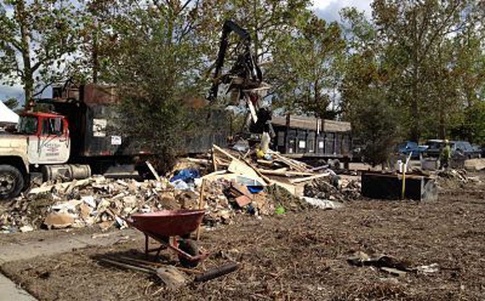 Debris removal in front of Marcus Rieffel's Braithwaite home (Jessica Holly)