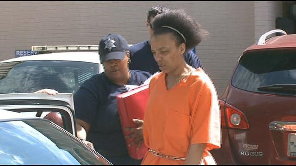Tonya Victor. is led from the courtroom. (FOX 8 photo)