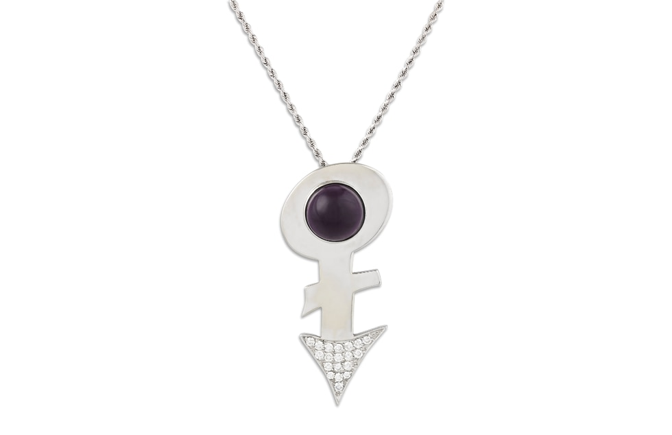 """Prince's Amethyst Love Symbol Pendant takes the shape of the """"Love Symbol"""". The..."""