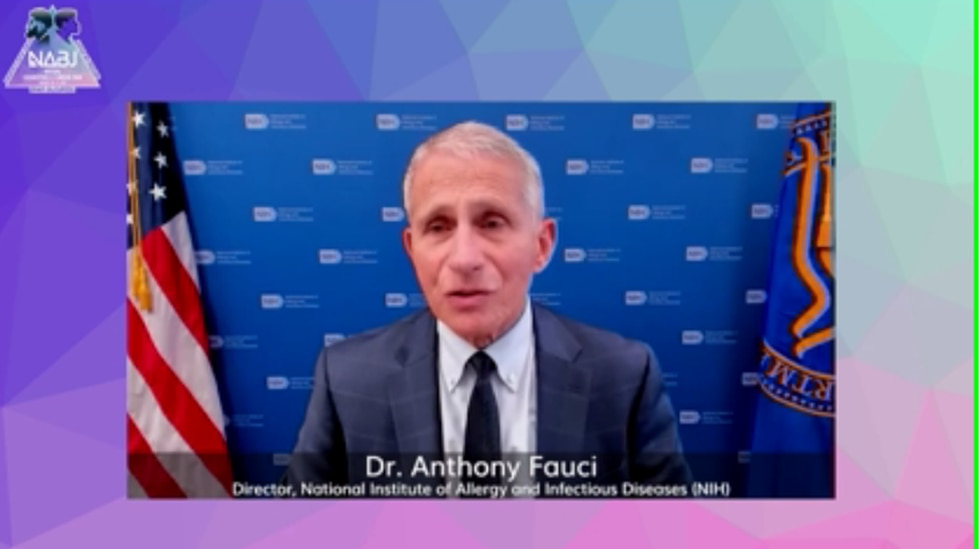 Dr. Anthony Fauci talks COVID-1 during the virtual NABJ Convention on August 19, 2021