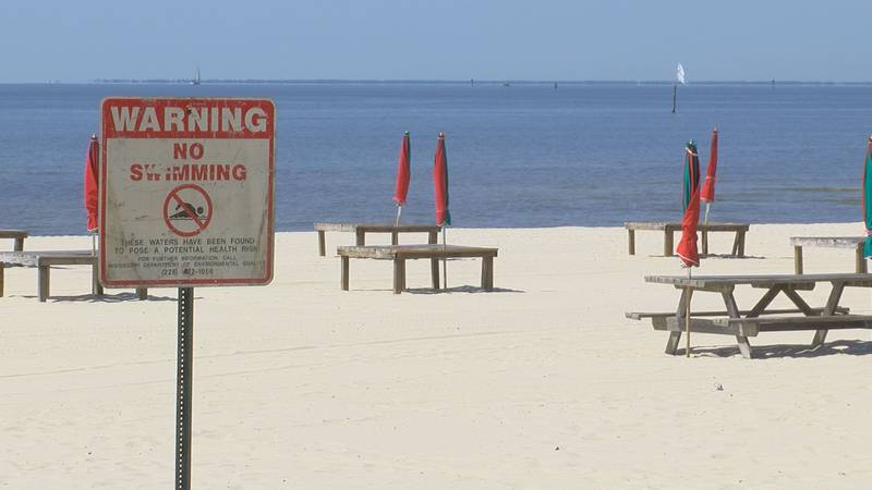 A no swimming sign posted on the beach in Gulfport means the beach vendor there can't rent...
