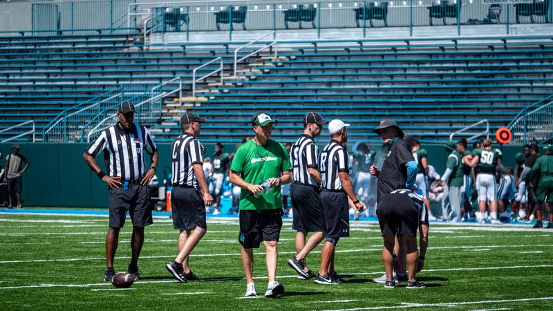 Tulane head coach Willie Fritz at their first scrimmage of fall camp.
