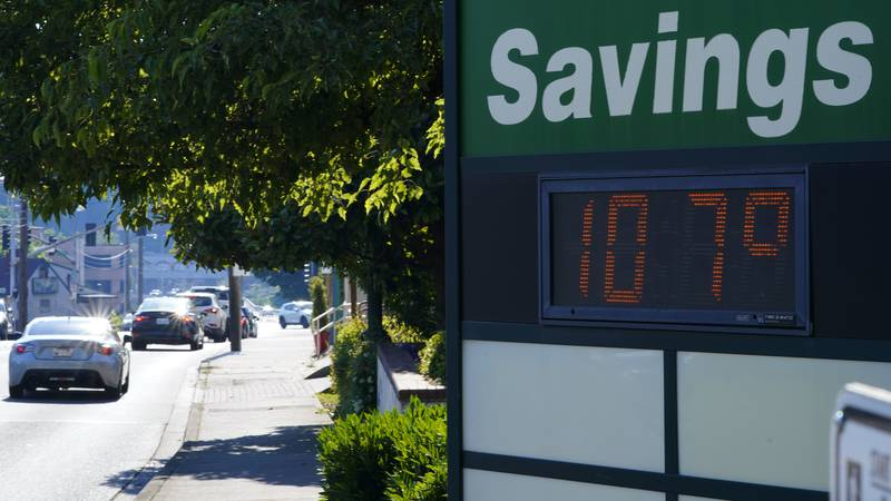 FILE - In this June 28, 2021 file photo a display at an Olympia Federal Savings branch shows a...